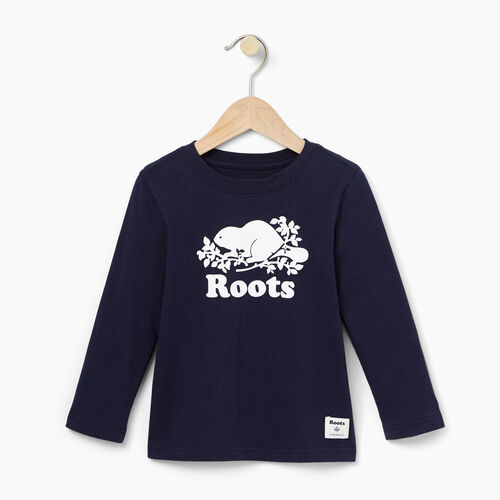 Roots-Clearance Kids-Toddler Original Cooper Beaver T-shirt-Navy Blazer-A