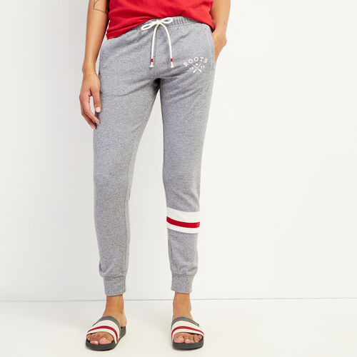 Roots-Women Clothing-Cabin Slim Cuff Sweatpant-Light Salt & Pepper-A