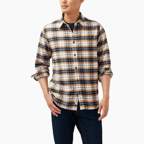 Roots-Winter Sale Tops-Maple Flannel Shirt-Camel-A