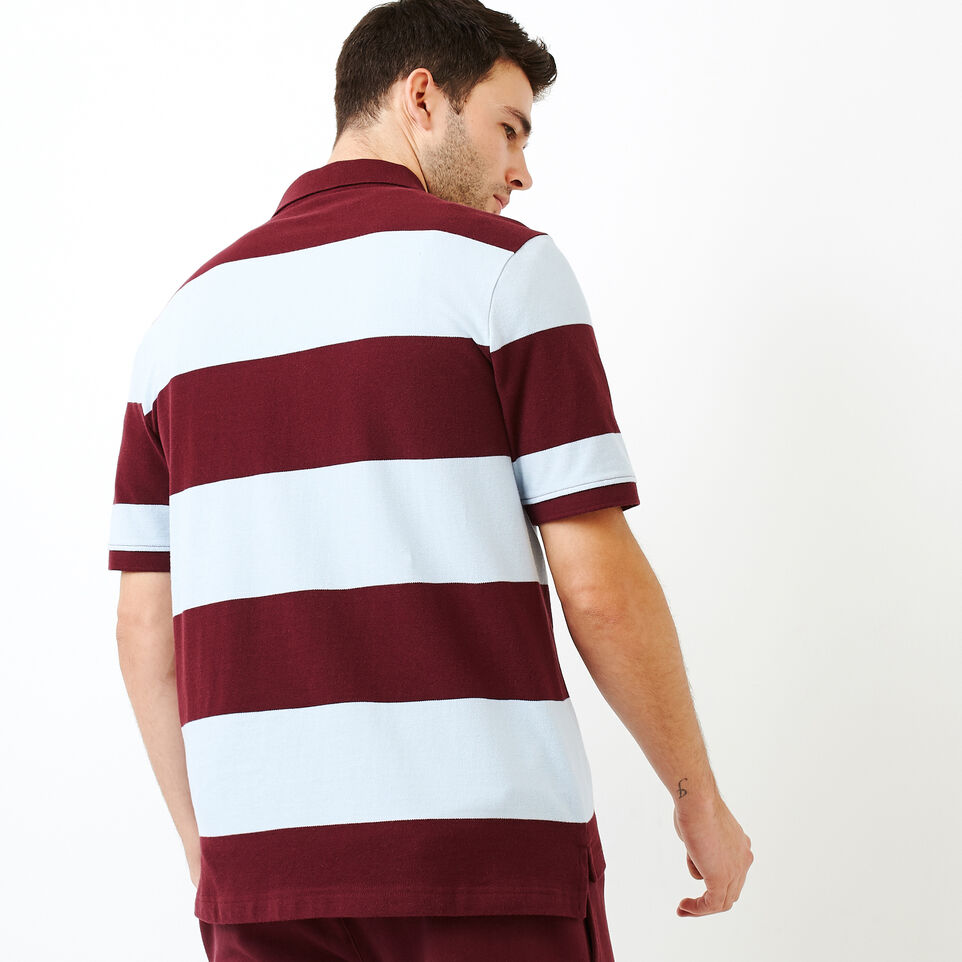 Roots-Men Categories-Heritage Striped Pique Polo-Northern Red-D