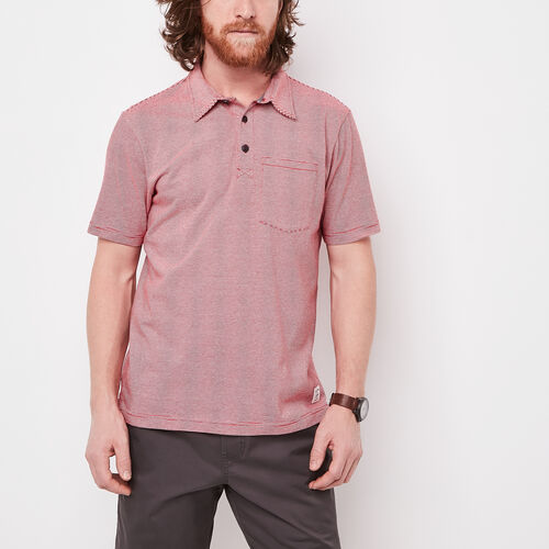 Roots-Men Tops-Striped Jersey Polo-Sage Red-A