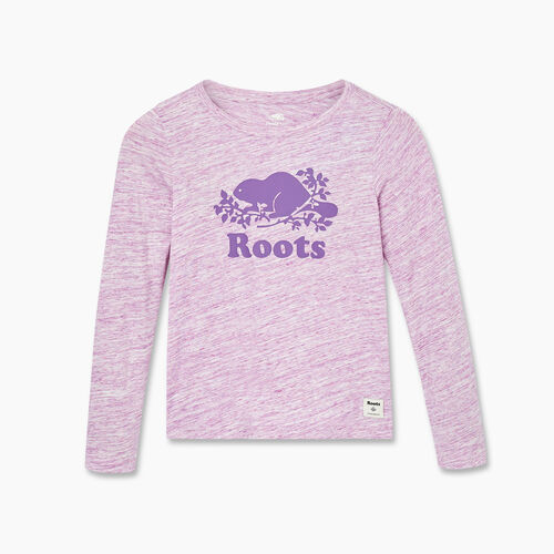 Roots-Gifts Gifts For Kids-Girls Original Cooper Beaver T-shirt-Purple Mix-A