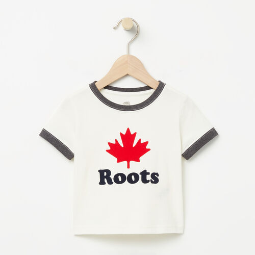 Roots-Kids Bestsellers-Baby Maple Ringer T-shirt-Pristine White-A