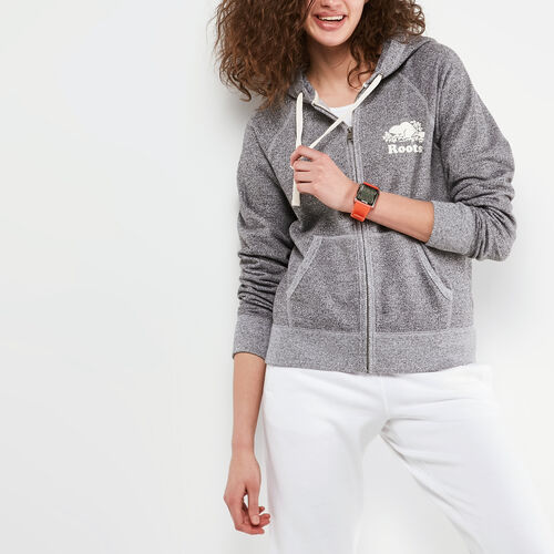 Roots-Women Sweatshirts & Hoodies-Roots Salt and Pepper Original Full Zip Hoody-Salt & Pepper-A
