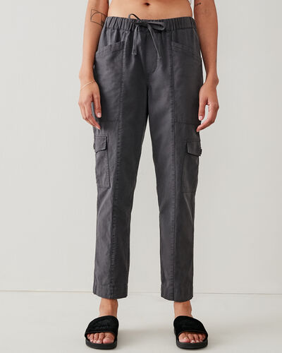 Roots-Women Pants-Margaree Utility Cargo Pant-Charcoal-A