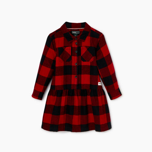 Roots-Sale Kids-Toddler Park Plaid Dress-Lodge Red-A