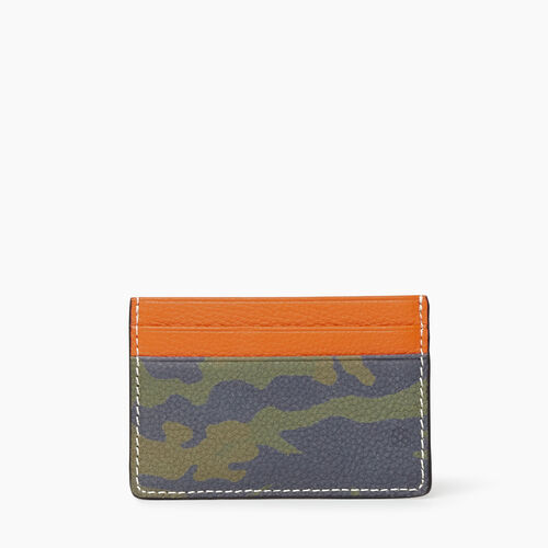 Roots-Women Leather Accessories-Card Holder Camo-Green Camo-A