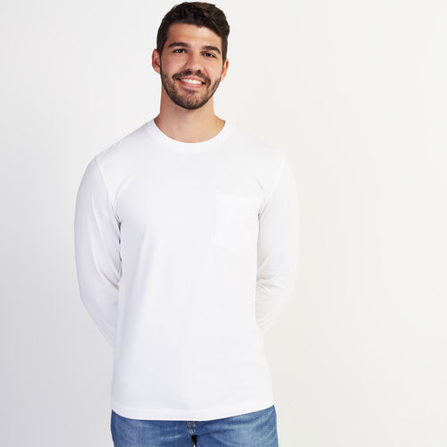 Roots-Men Long Sleeve Tops-Essential Pocket Long Sleeve Top-Crisp White-A