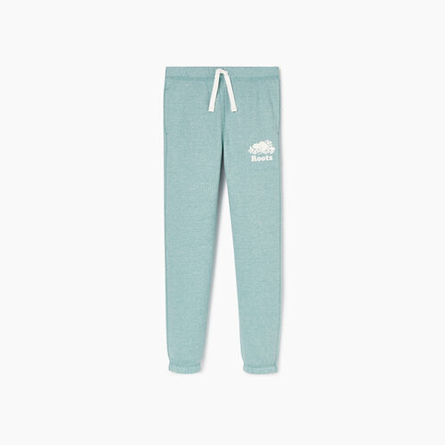 Roots-Kids Bottoms-Girls Original Roots Sweatpant-Mineral Blue Pepper-A