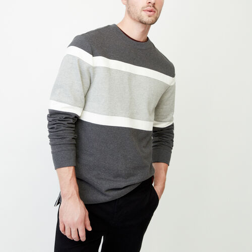 Roots-Men Tops-Mt. Logan Heavy Long Sleeve Top-Charcoal Mix-A