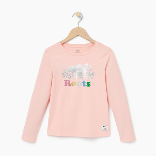Roots-Winter Sale Kids-Girls Foil Cooper Beaver T-shirt-Light Pink-A