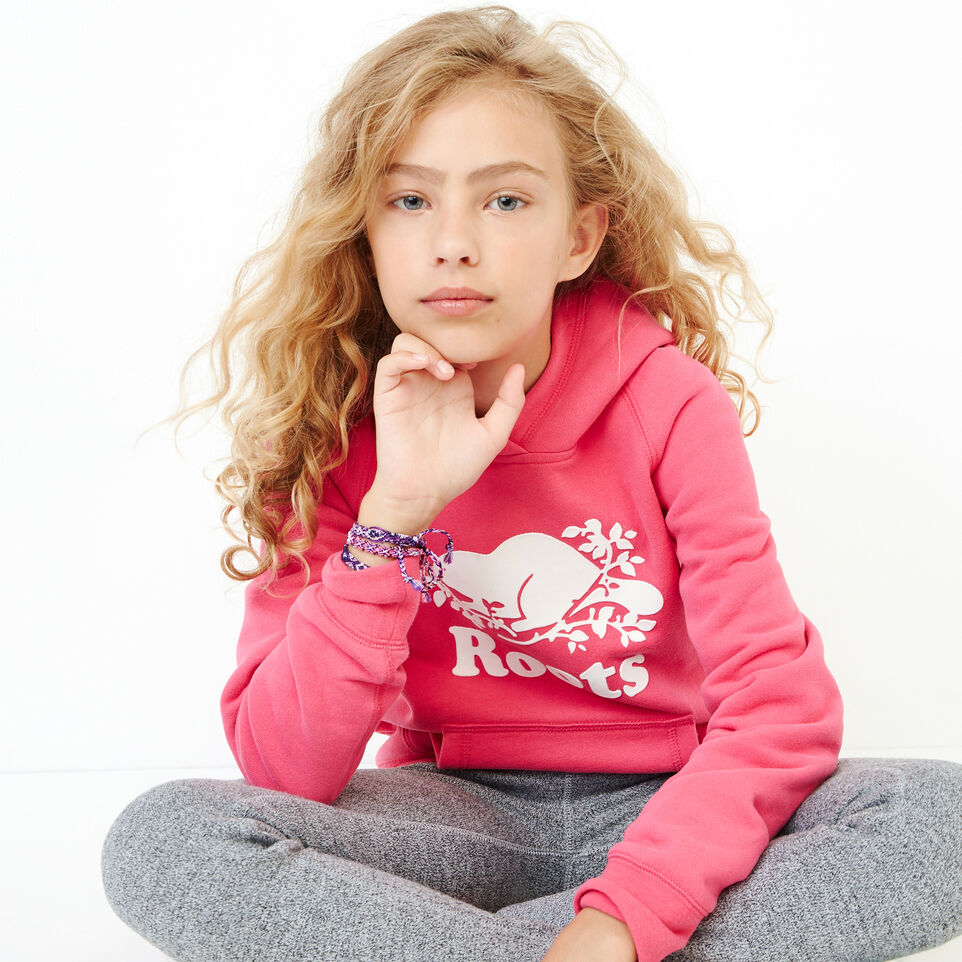 Roots-Clearance Kids-Girls Original Kanga Hoody-Pink Flambé-A