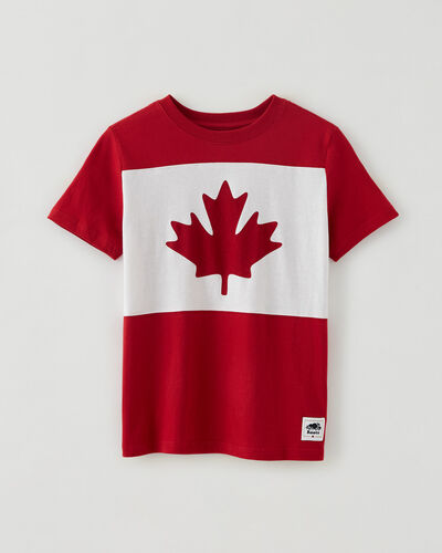 Roots-Kids Canada Collection-Boys Blazon T-shirt-Sage Red-A