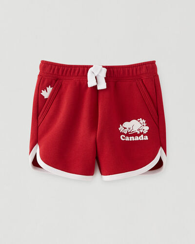 Roots-Sweats Baby-Baby Canada Ringer Short-Sage Red-A