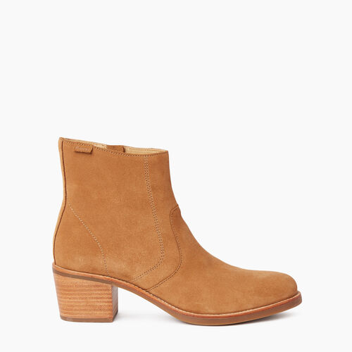 Roots-Women Footwear-Womens Liberty Boot Suede-Caramel-A