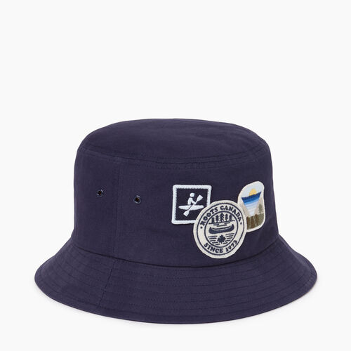Roots-Men Accessories-Badges Bucket Hat-Navy-A