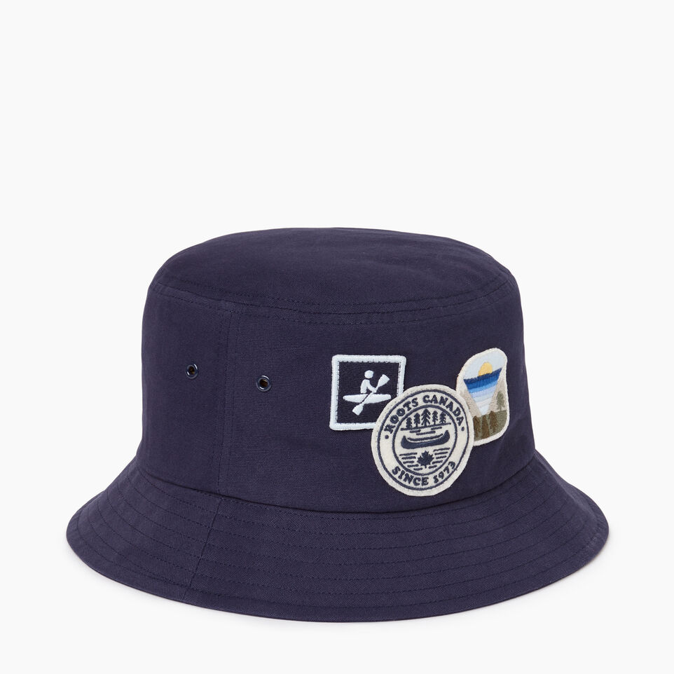 Roots-Men Our Favourite New Arrivals-Badges Bucket Hat-Navy-A
