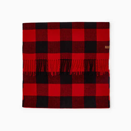 Roots-Men New Arrivals-Roots Park Plaid Scarf-Cabin Red-A