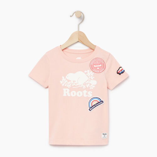 Roots-Kids Tops-Toddler Patches T-shirt-Blossom Pink-A
