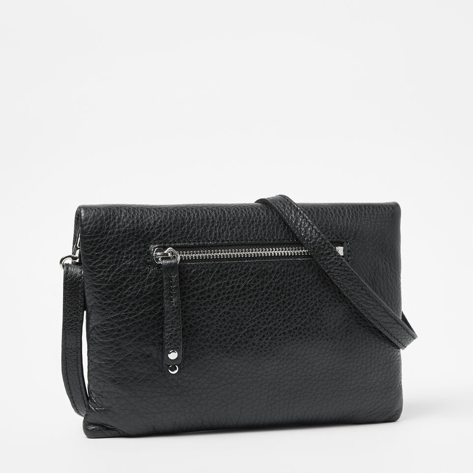 Roots-Leather  Handcrafted By Us Handbags-Anna Clutch Prince-Black-C