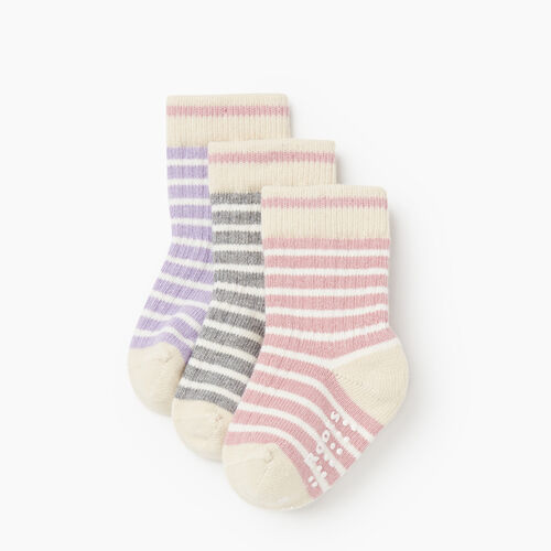Roots-Kids Accessories-Toddler Breton Cabin Sock 3 Pack-Pink-A