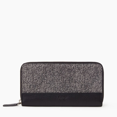 Roots-Leather New Arrivals-Zip Around Clutch Salt & Pepper-Salt & Pepper-A