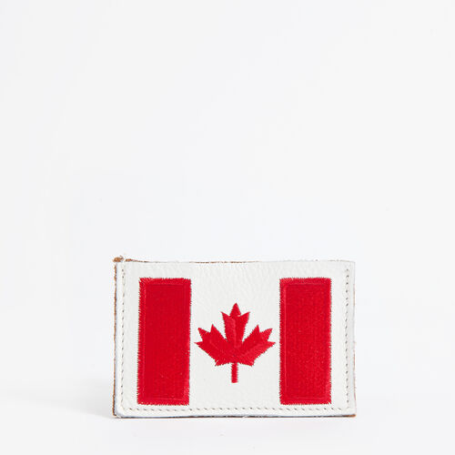 Roots-Leather Wallets-Canada Card Holder Tribe-Natural-A