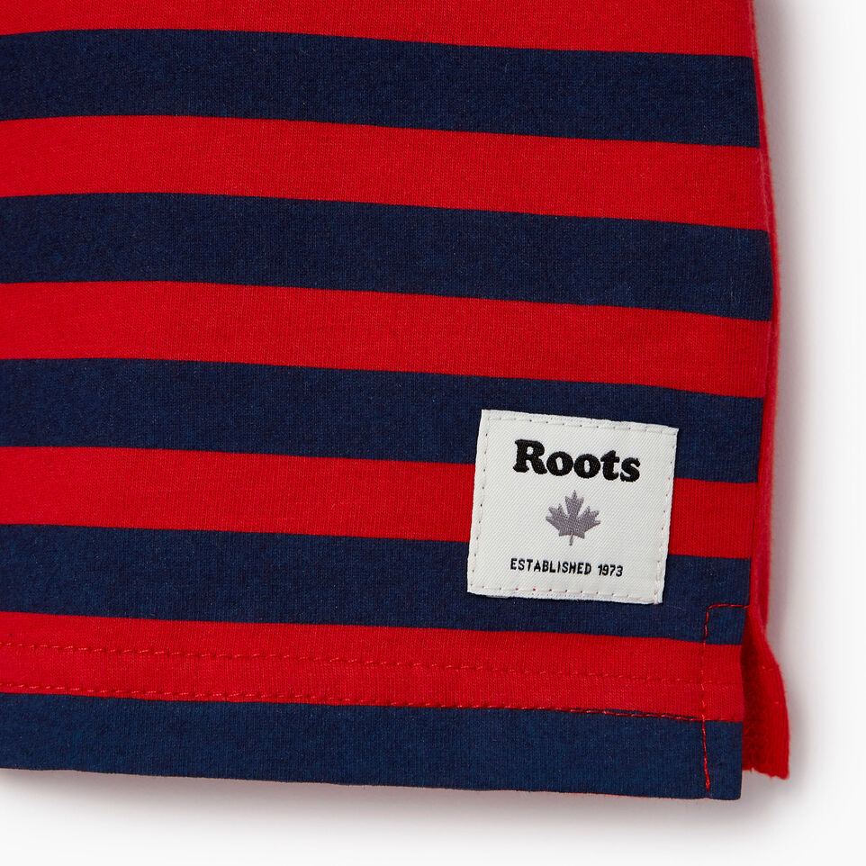 Roots-New For June Kids-Boys Cooper Beach Stripe T-shirt-Racing Red-C
