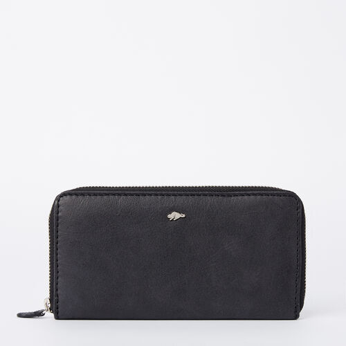 Roots-Women Wallets-Zip Around Wallet Tribe-Jet Black-A