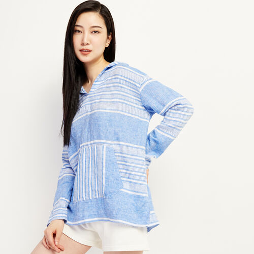 Roots-Women Clothing-Beachcomber Woven Hoody-French Blue-A