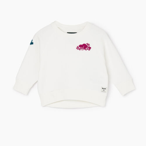 Roots-Sweats Baby-Baby Remix Crew Sweatshirt-Ivory-A