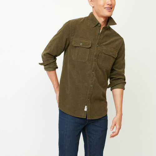 Roots-Winter Sale Tops-Yukon Corduroy Shirt-Fatigue Mix-A