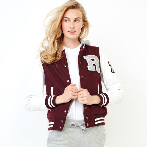Roots-Leather  Handcrafted By Us Categories-Womens Hoody Award Jacket-Burgundy-A