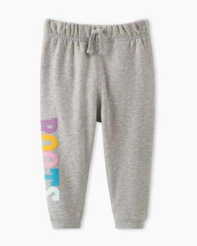 Roots-Kids Bottoms-Baby Retro Slim Cuff Sweatpant-Grey Mix-A