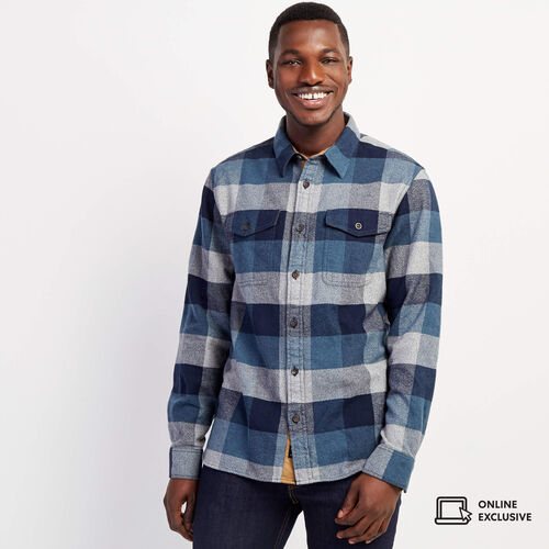 Roots-New For November Men-Park Oversized Plaid Shirt-Navy Blazer-A