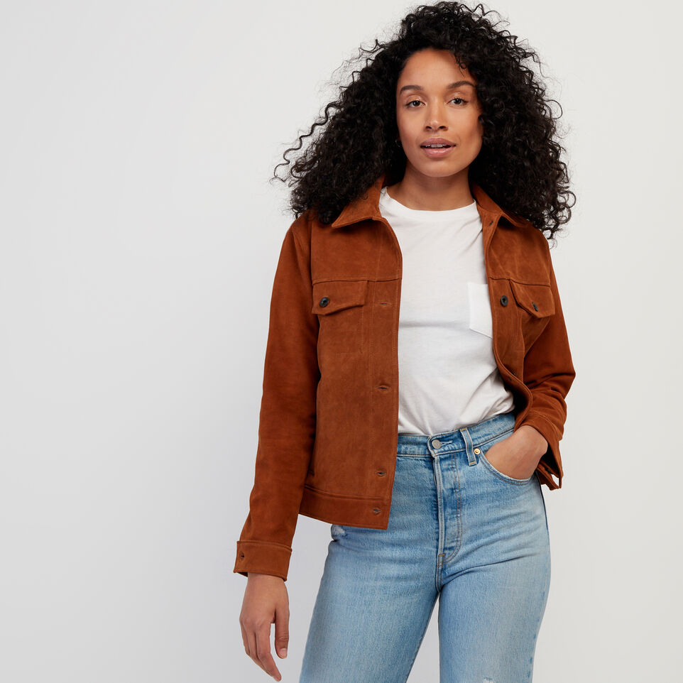 Roots-Leather Leather Jackets-Womens Trucker Jacket Suede-Tan-A