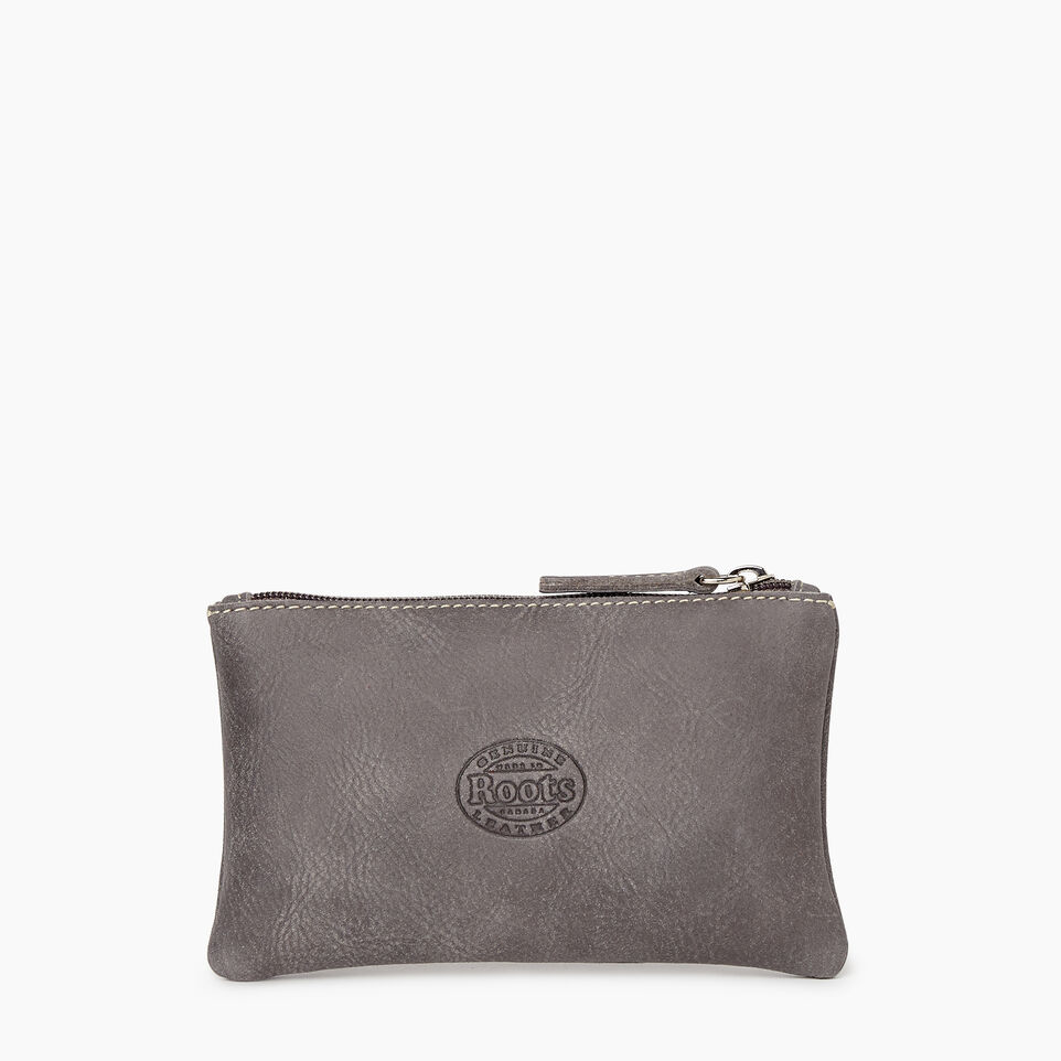 Roots-Leather Categories-Medium Zip Pouch-Charcoal-C