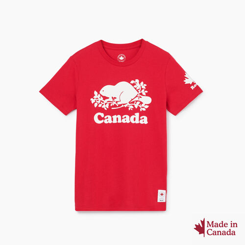 Roots-New For October Canada Collection By Roots™-Womens Cooper Canada T-shirt-Sage Red-A