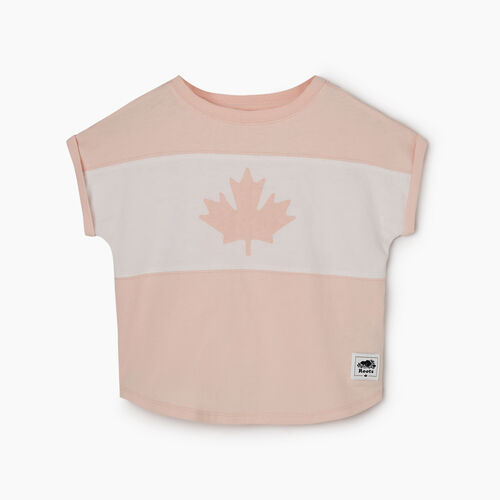 Roots-Kids Tops-Toddler Blazon T-shirt-English Rose-A