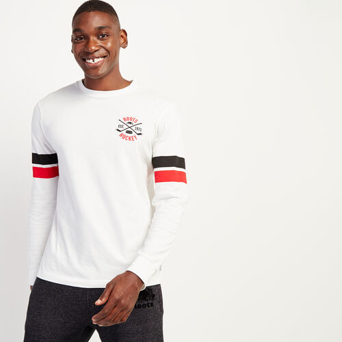 Roots-Sale Men-Mens Roots Hockey Long Sleeve-Ivory-A