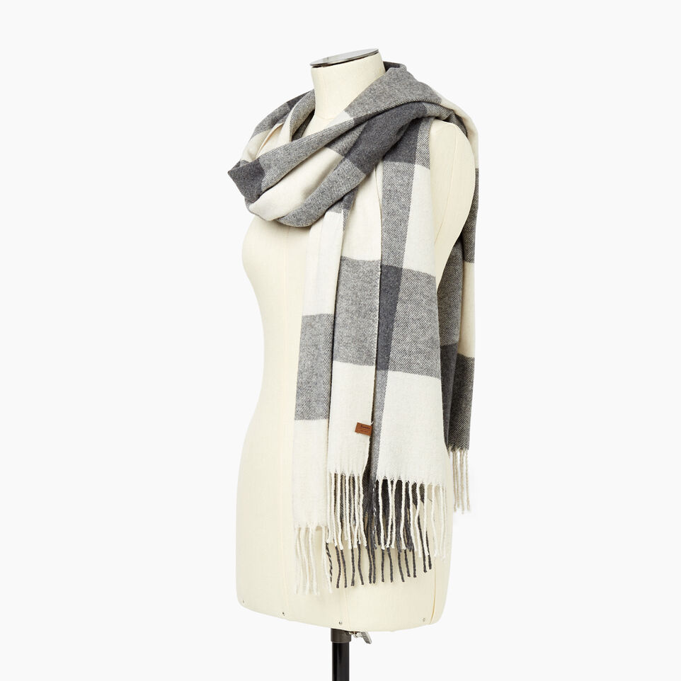 Roots-New For December Today Only: 40% Off Park Plaid Collection-Roots Park Plaid Blanket Scarf-Light Fog-C