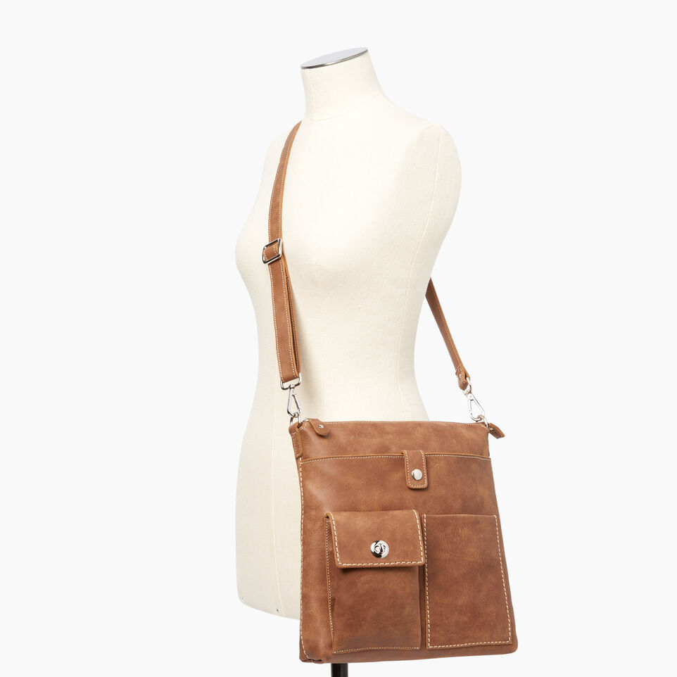 Roots-Leather  Handcrafted By Us Handbags-Canadian Villager-Natural-B