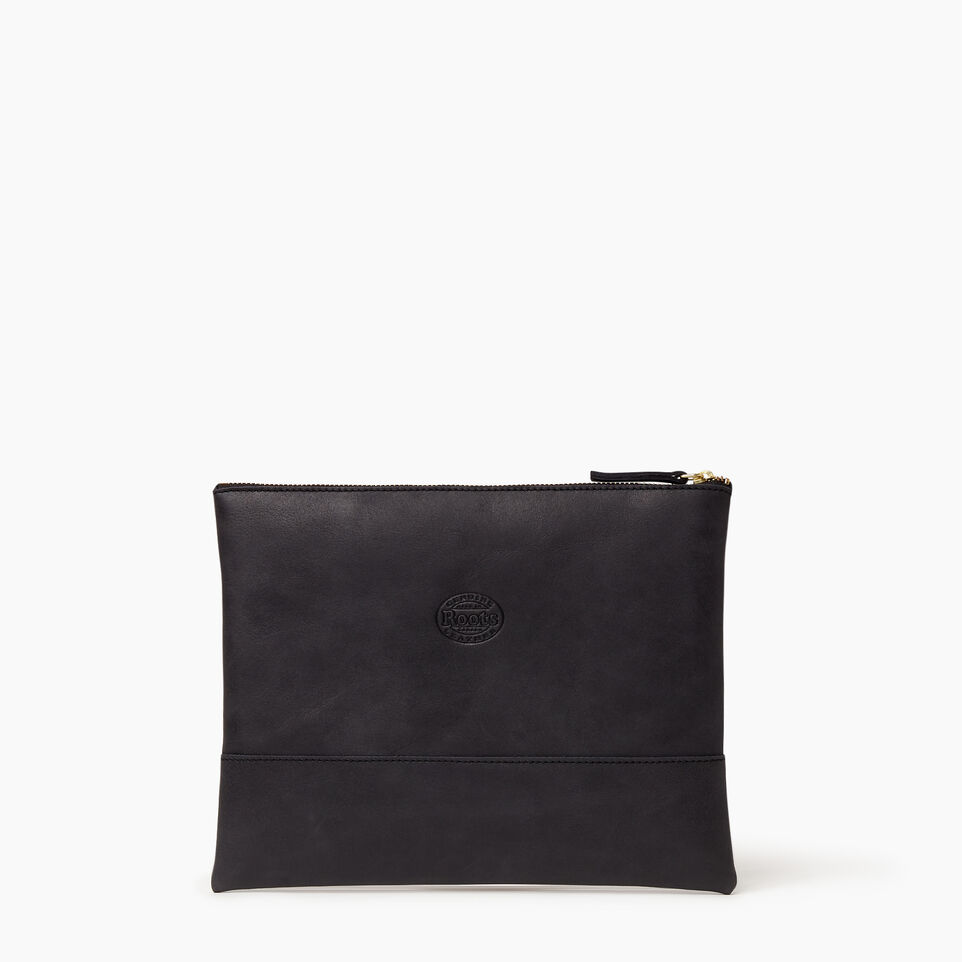 Roots-Women Leather Accessories-Junction Pouch-Jet Black-B