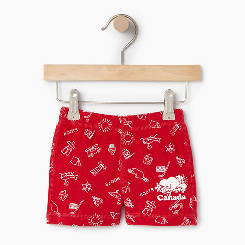 Roots-Kids Baby Girl-Baby Canada Roots Aop Short-Sage Red-A