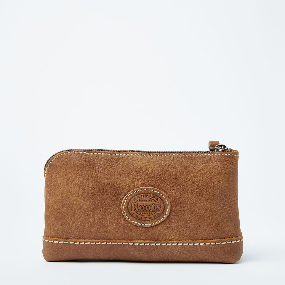 Roots-Women Leather Accessories-Funky Zip Pouch-Natural-C