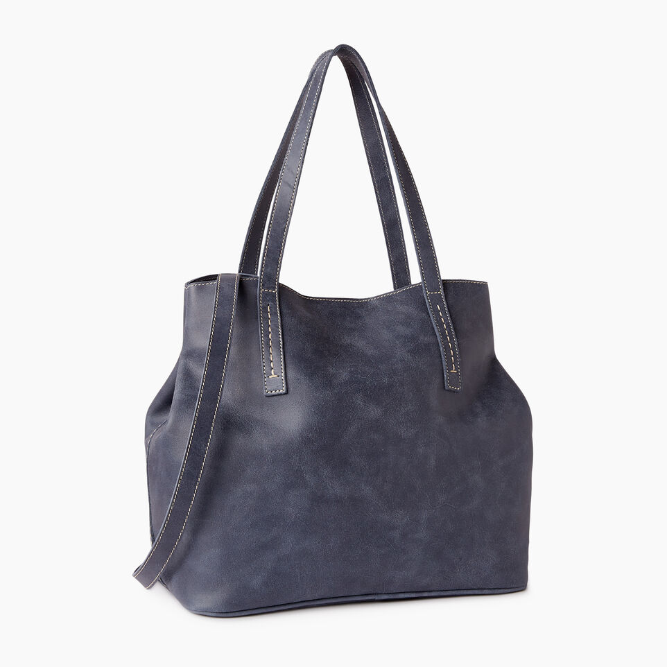 Roots-Leather  Handcrafted By Us Our Favourite New Arrivals-Amelia Tote Tribe-Navy-C