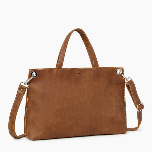Roots-Leather Totes-Edie Tote Tribe-Natural-A