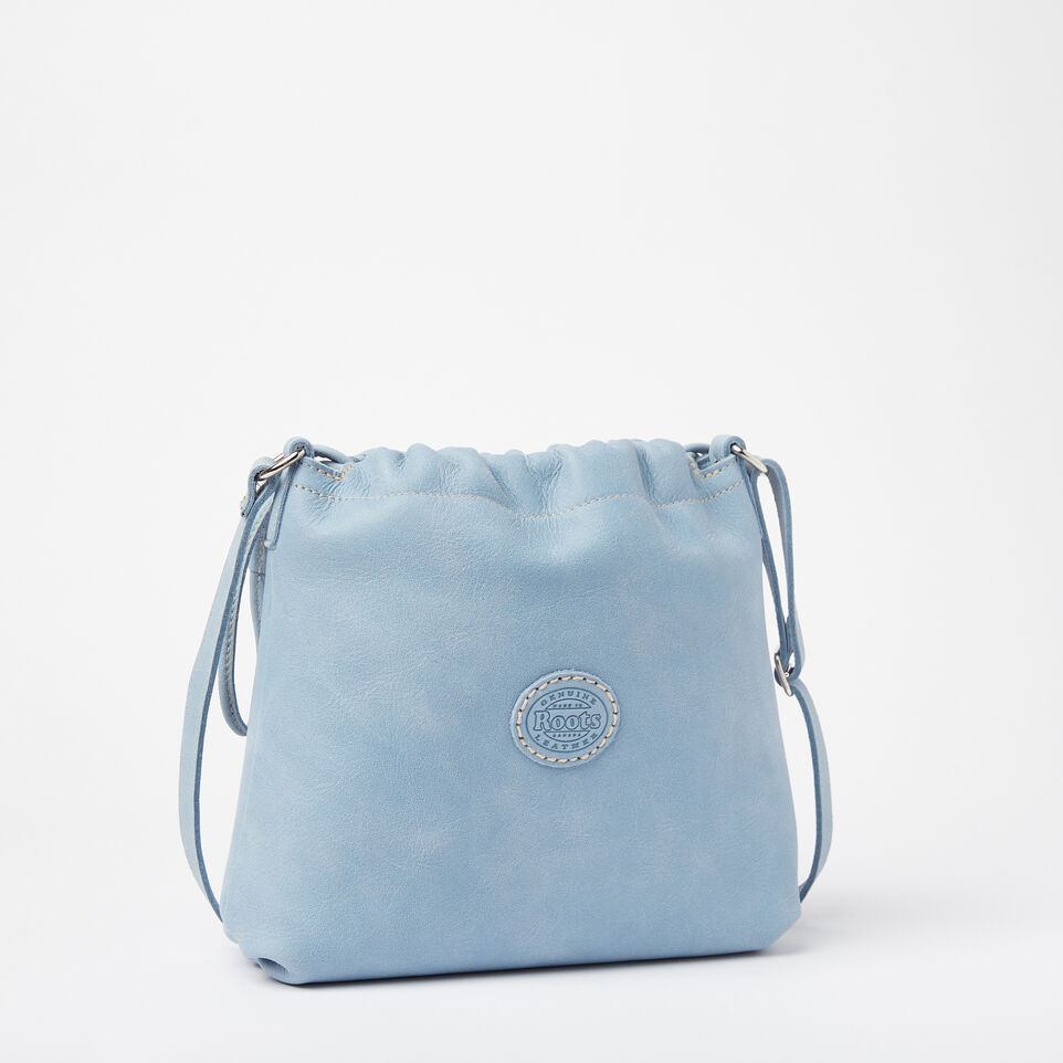 Roots-Clearance Leather-Mini Drawstring Bag Tribe-Faded Denim-C