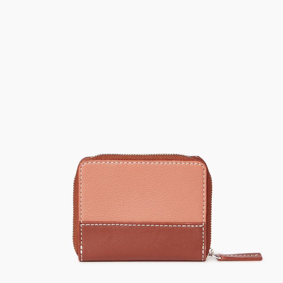 Roots-Leather Categories-Small Zip Wallet-Canyon Rose/oak-C