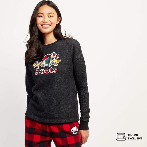 Roots-New For November Online Exclusives-Heritage Plaid Boxy Crew Sweatshirt-Black Pepper-A